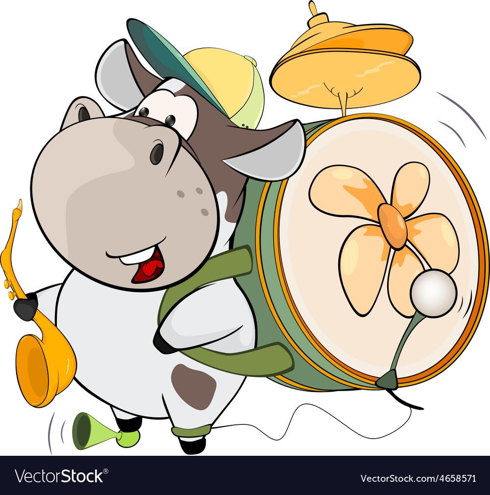 A cow one man band Cartoon.