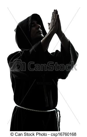 Stock Photo of man monk priest silhouette praying.