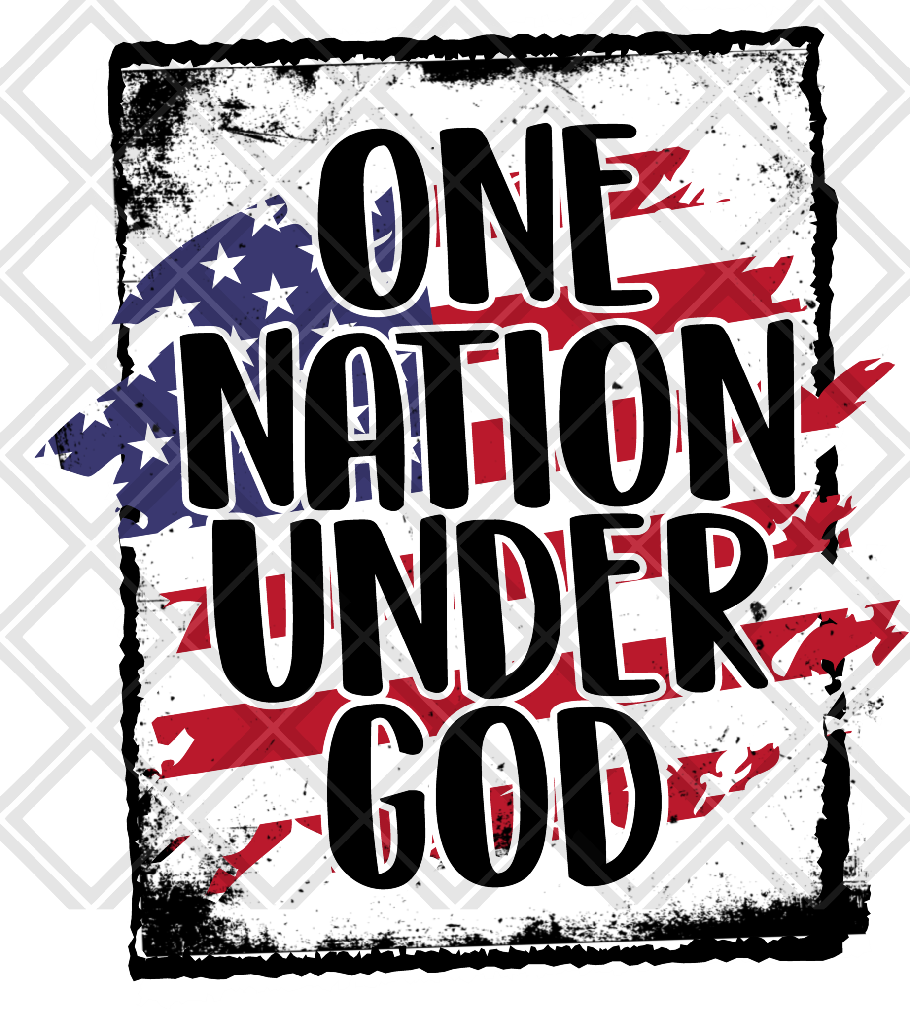 One Nation Under God Htv Transfer, Sublimation Transfer.