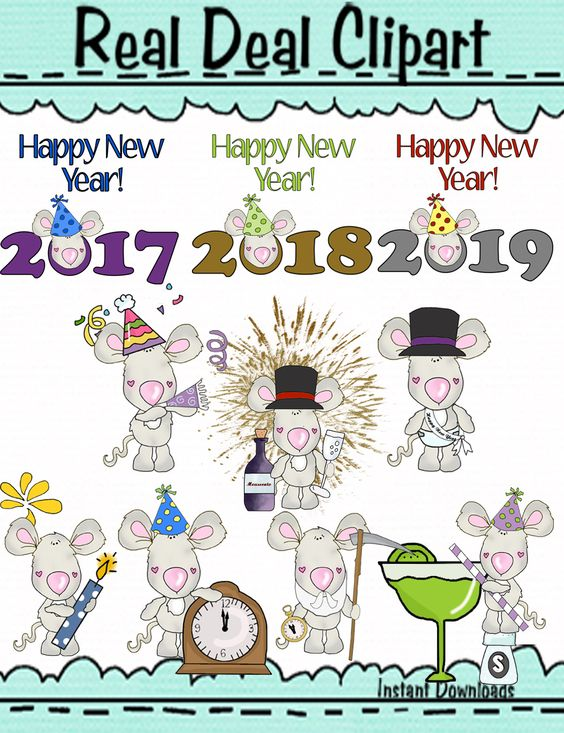 New Year Marvin The Mouse One of a Kind Clipart.