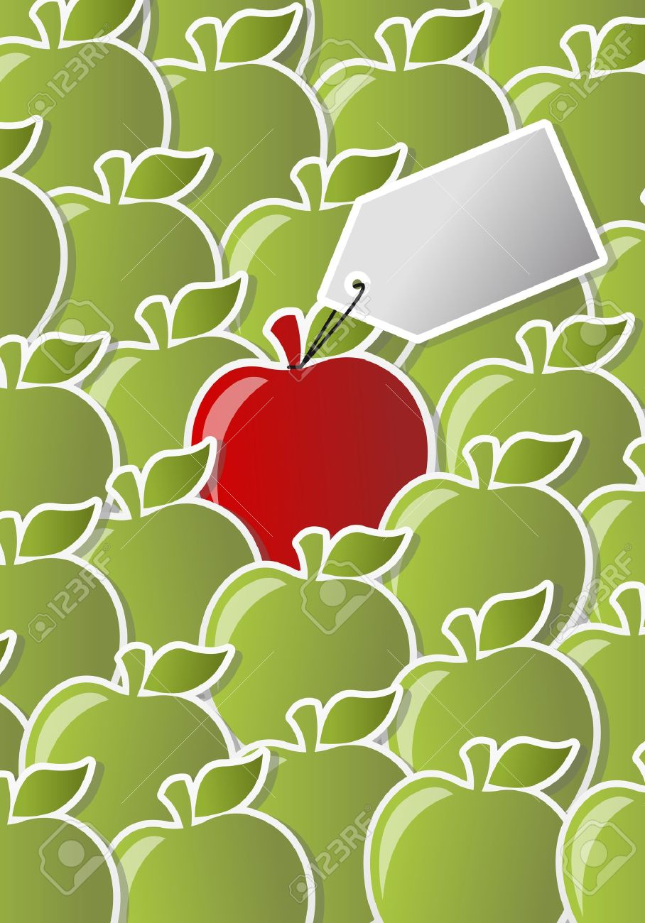Red And Green Apple Icon With Label One Of A Kind Royalty Free.