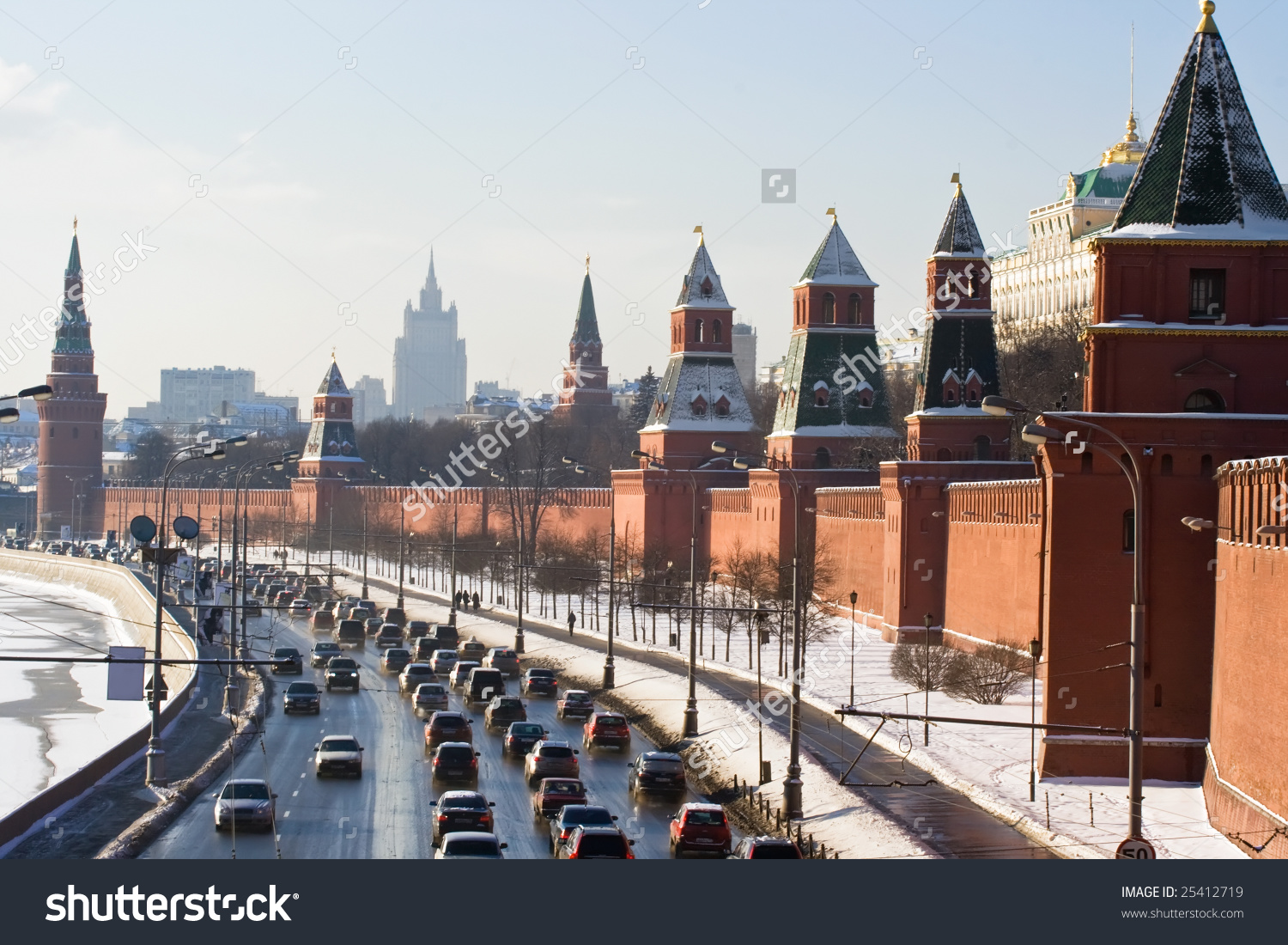 Moscow Kremlin Wall Moskva River Stock Photo 25412719.