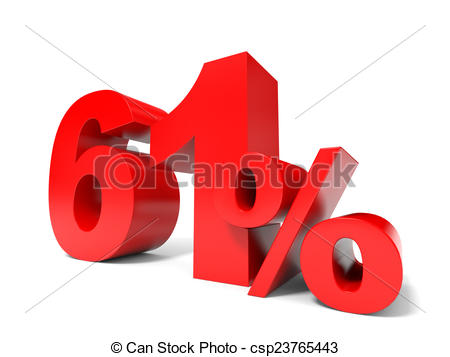 Drawing of Red sixty one percent off. Discount 61%. 3D.