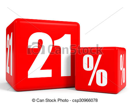 Stock Illustrations of Red sale cubes. Twenty one percent discount.