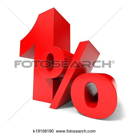Stock Illustrations of Red one percent off. Discount 1%. k19158190.
