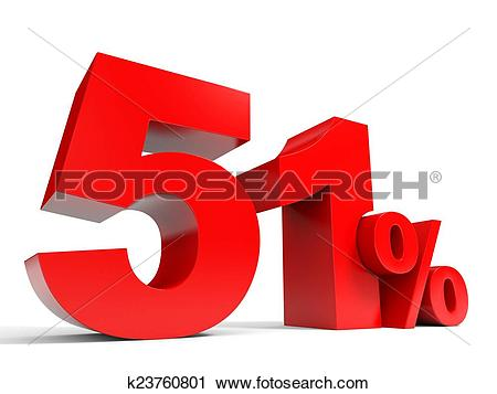 Clipart of Red fifty one percent off. Discount 51%. k23760801.