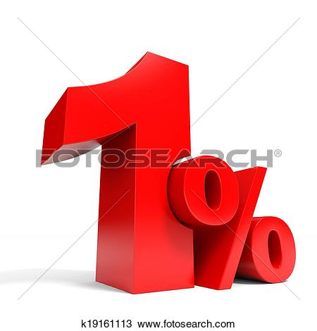 Drawing of Red one percent off. Discount 1%. k19161113.