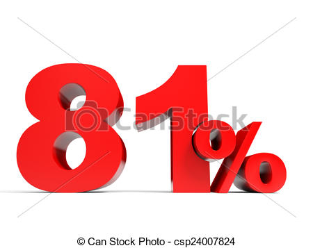 Clip Art of Red eighty one percent off. Discount 81%. 3D.