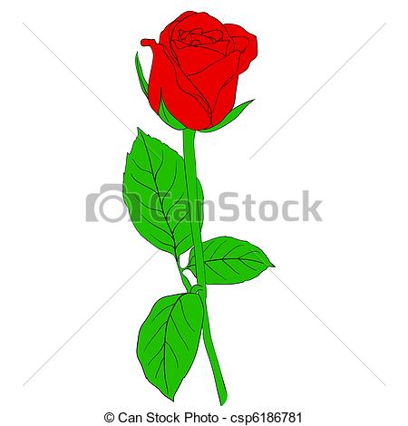 Vector Clip Art of One red Rose in hand drawn style csp6186781.