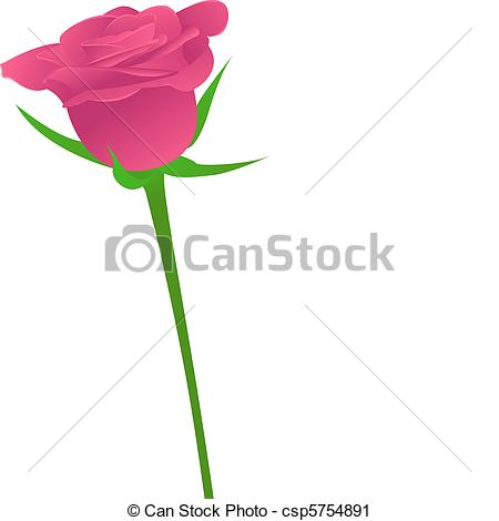 Vector Clip Art of One pink rose on white background.