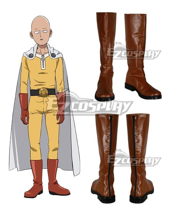 Punch Man Saitama Caped Baldy Hagemanto Orange Cosplay Boots.