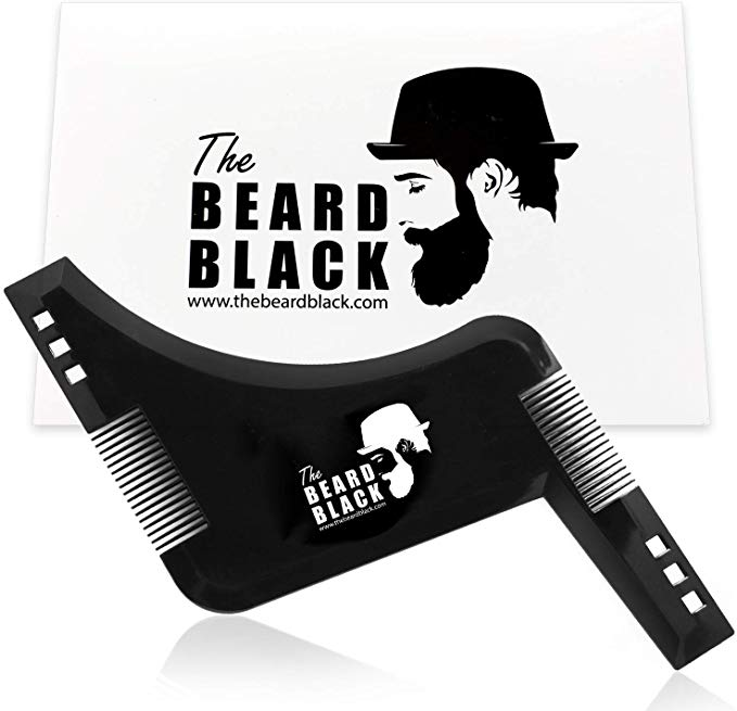 The Beard Black Beard Shaping & Styling Tool with inbuilt Comb for Perfect  line up & Edging, use with a Beard Trimmer or Razor to Style Your Beard &.