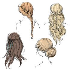 set of different hairstyles. Hand drawn. vector art.