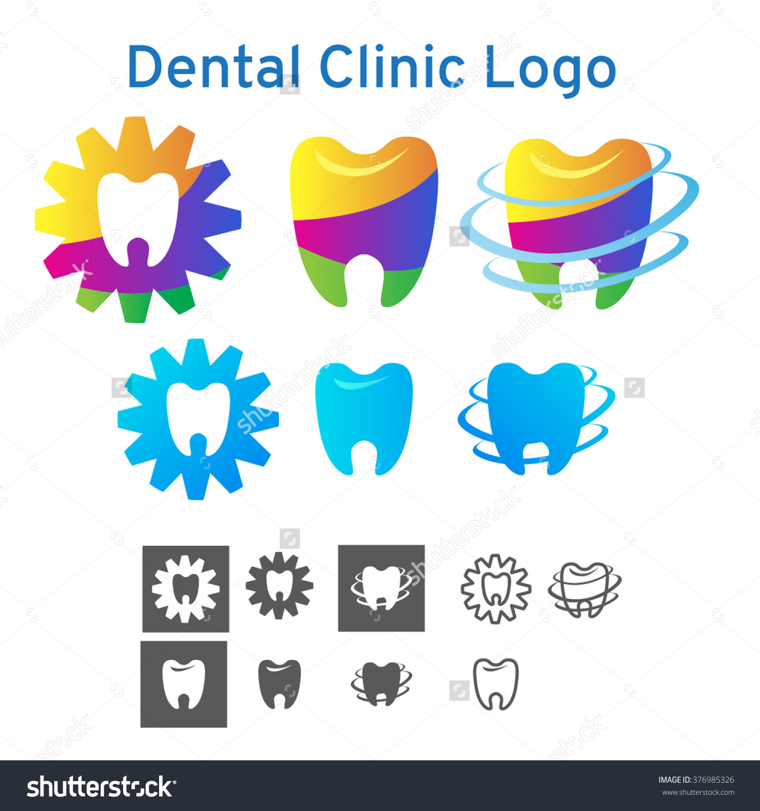 Set Of Colorful And In One Color Dental Clinic Logos. Logotypes In.
