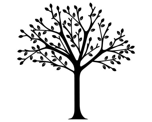 Tree Clip Art Black and White.