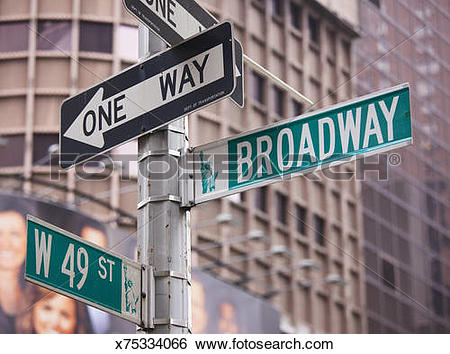 Stock Images of Broadway and One Way street signs, New York City.