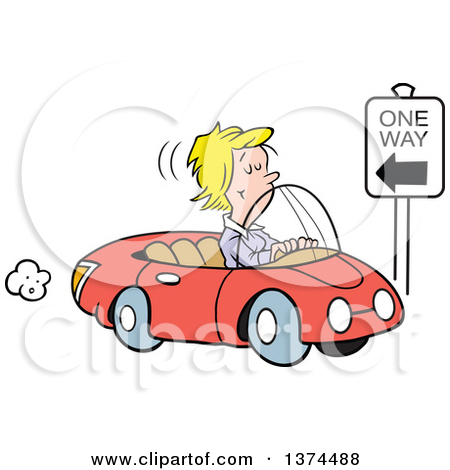 Cartoon Clipart of a Blond White Woman Driving the Wrong Direction.