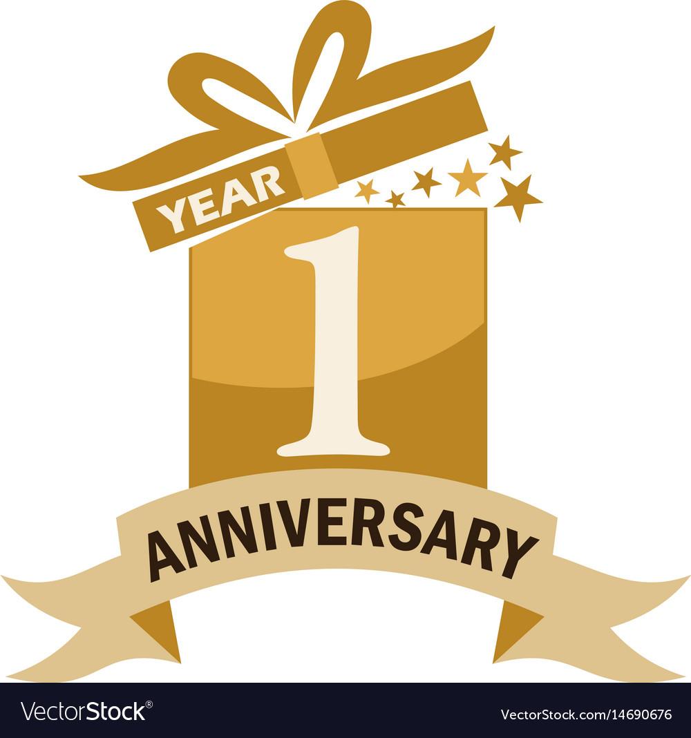 1 years gift box ribbon anniversary.