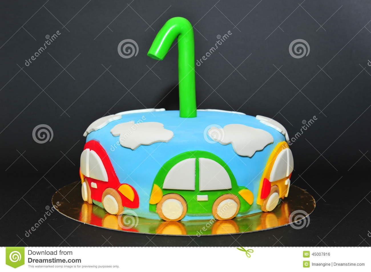 One Year Old Birhtday Celebration Cake Stock Photo.