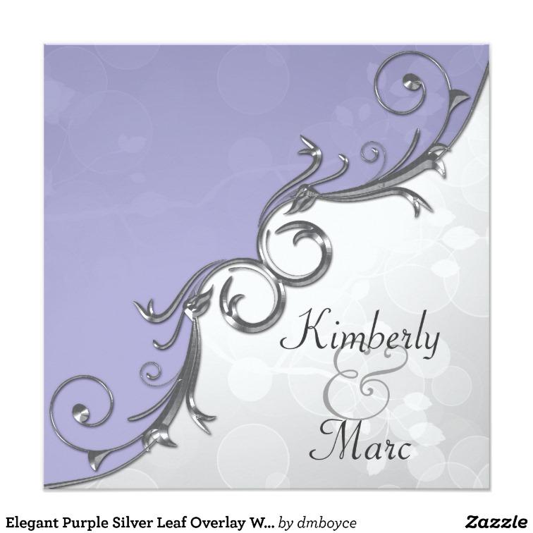Elegant Purple Silver Leaf Overlay Wedding Invitat Card.
