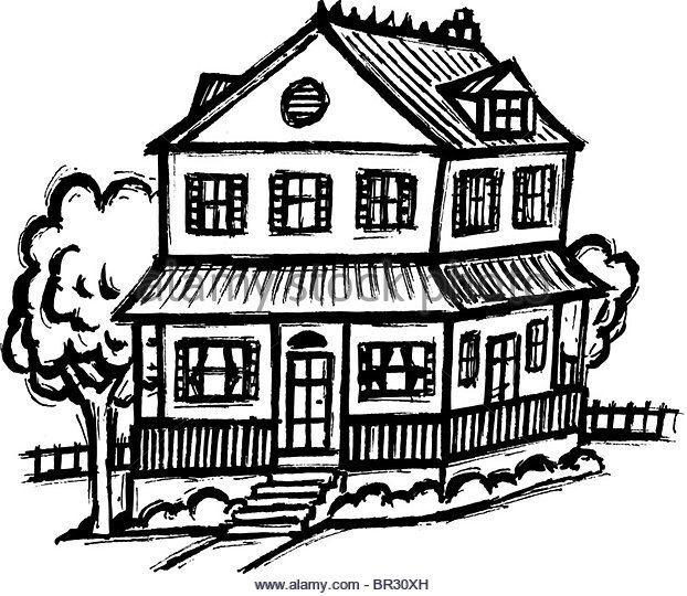 One Family Home Dwelling House Black and White Stock Photos.