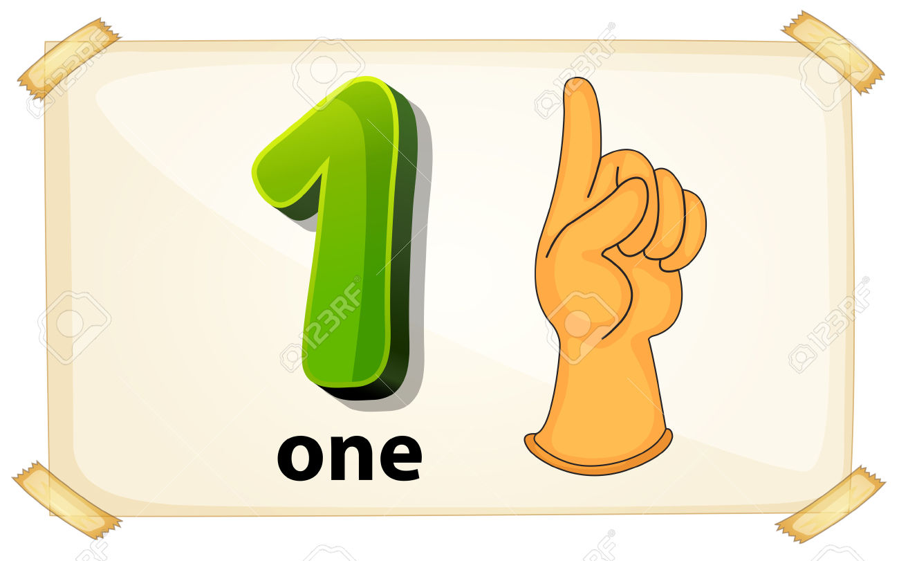 Illustration Of A Flashcard Number One Royalty Free Cliparts.
