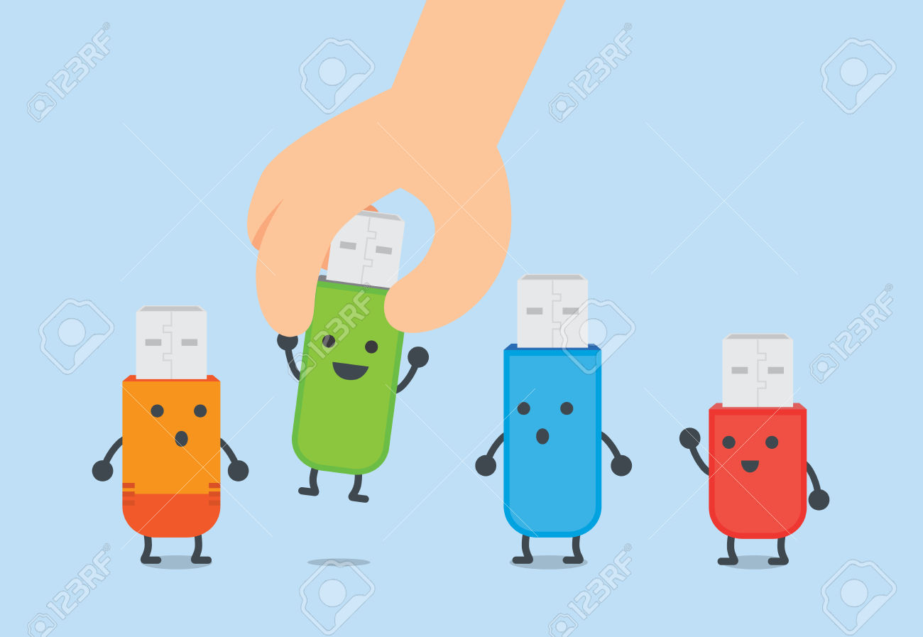 Hand Picking To One Flash Drive Up From Group. This Illustration.