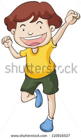 Clipart boy standing on one leg.