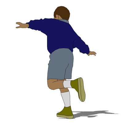 Hop on one foot clipart.