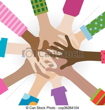 Vector Illustration of hands diverse togetherness background.