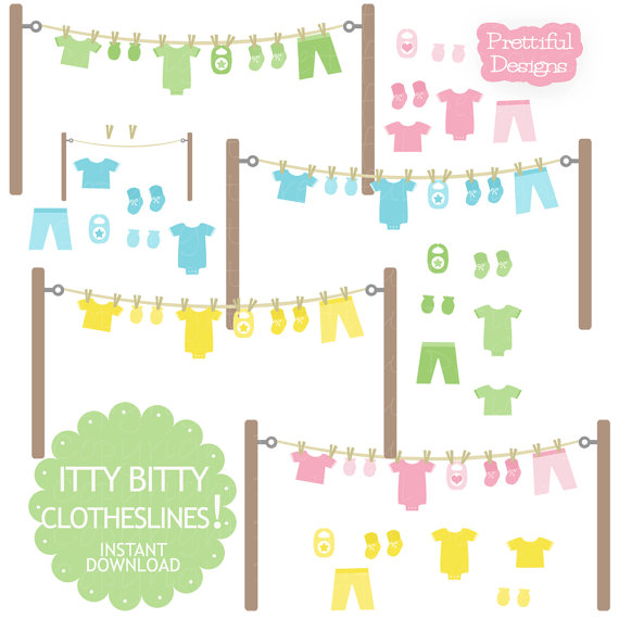 Baby Clothesline Clip Art with Onesie Mitten Bootie Bib in Pink.