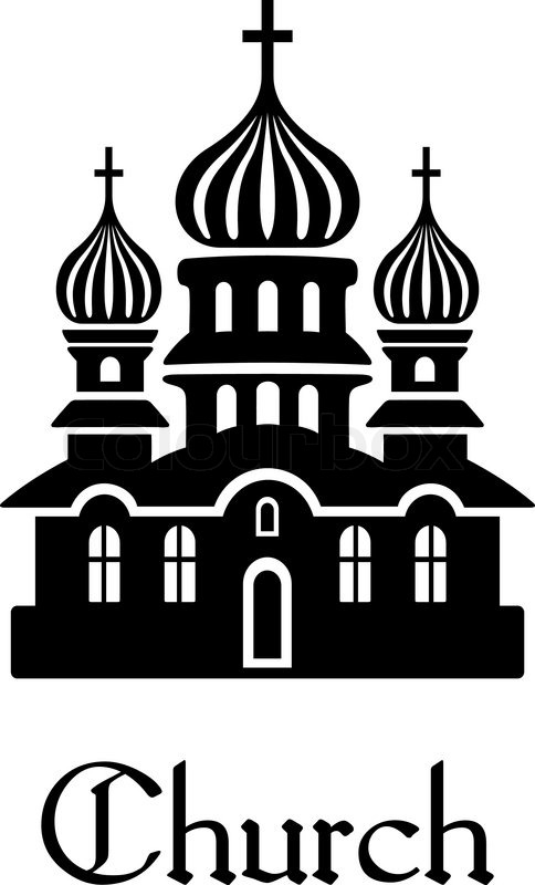 Black and white silhouette Church icon with onion shaped domes and.