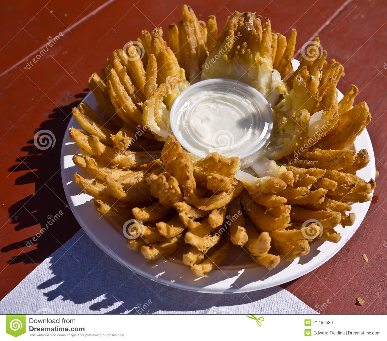 Blooming Onion Plant Agains A Blurred Natural Background Stock.