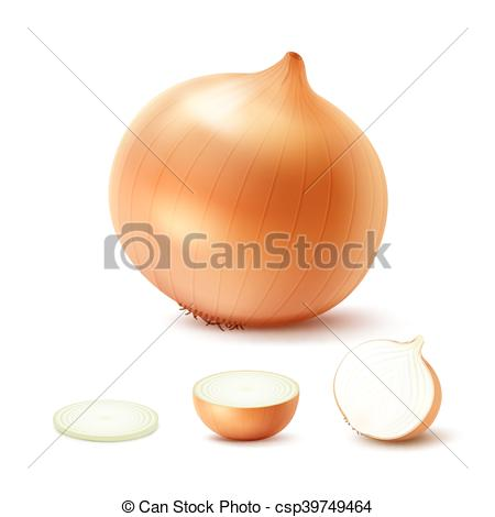 Clip Art Vector of Set of Fresh Whole and Sliced Yellow Onion.