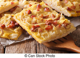 Stock Photo of German Zwiebelkuchen or Onion Cake.