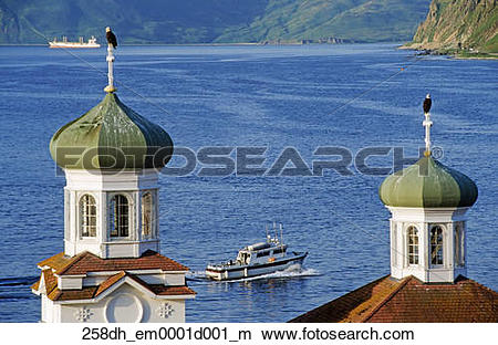 Stock Photo of Bald Eagles perch on onion domes of the Holy.