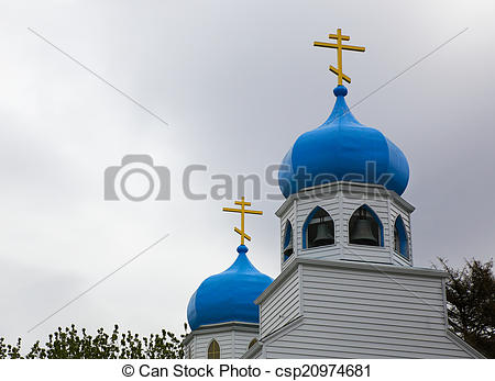 Pictures of Blue Onion Domes of Russian Church in Alaska.