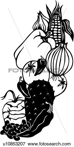 Clip Art of , corn, food, garlic, harvest, onion, pepper, produce.