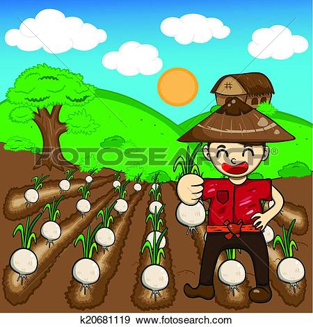 Clip Art of Farmer and onion plants a harvest vector cartoon.
