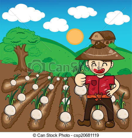 Vector Clip Art of Farmer and onion plants a harvest vector.
