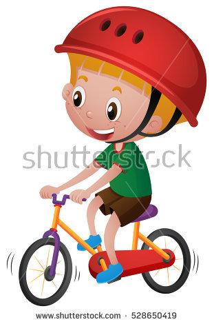 Vector Illustration Cartoon Boy On Bicycle Stock Vector 375519232.