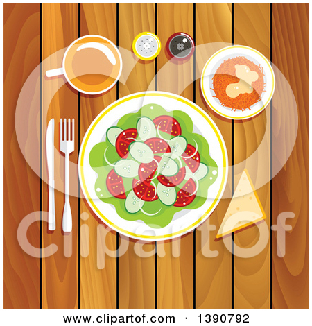 Clipart of a Vegetarian Lunch on a Wooden Table with Fresh.