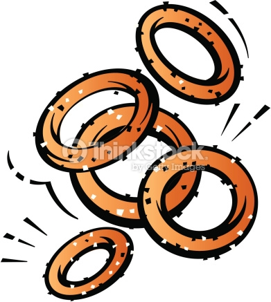 Onion Rings Color Low Res Grouped Elements Vector Art.