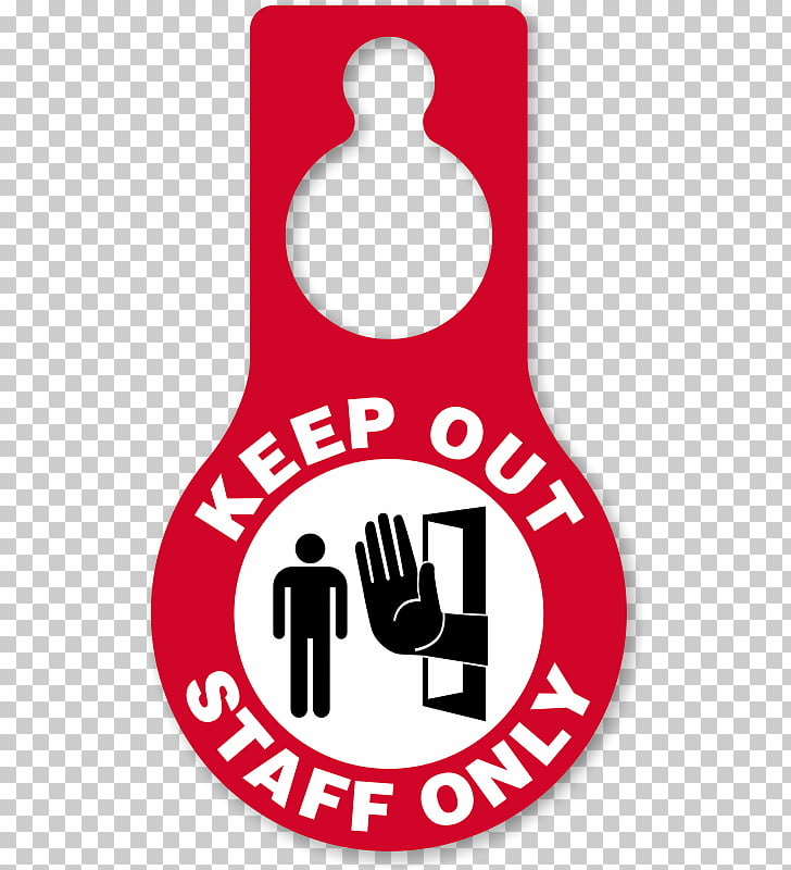 Door hanger Brand Logo, staff only PNG clipart.