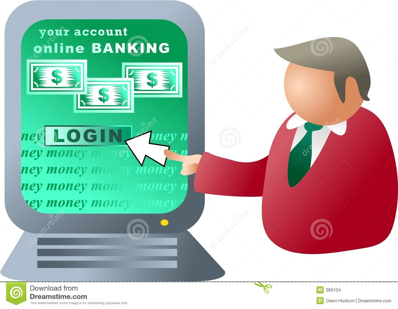 Computer In Bank Clipart.