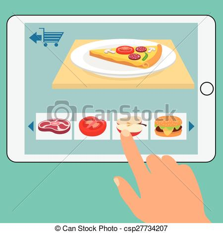 Vector Clipart of Concept of the grocery online store. Order food.