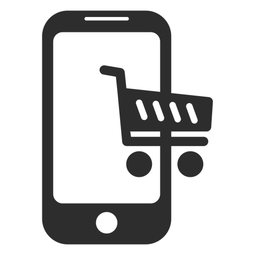 Mobile online shopping icon.