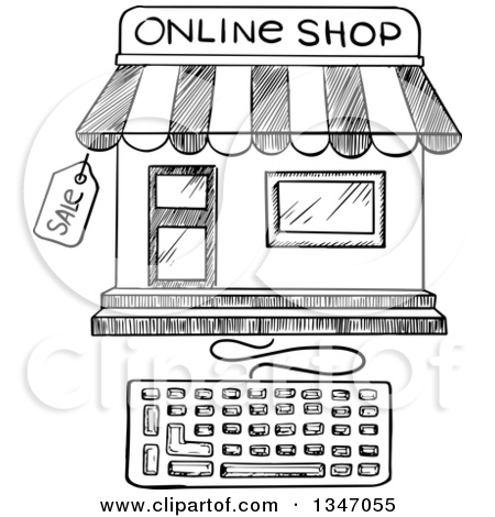 Clipart of a Sketched Online Shop and Keyboard.
