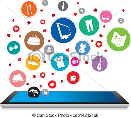 Clip Art Vector of Shopping online.