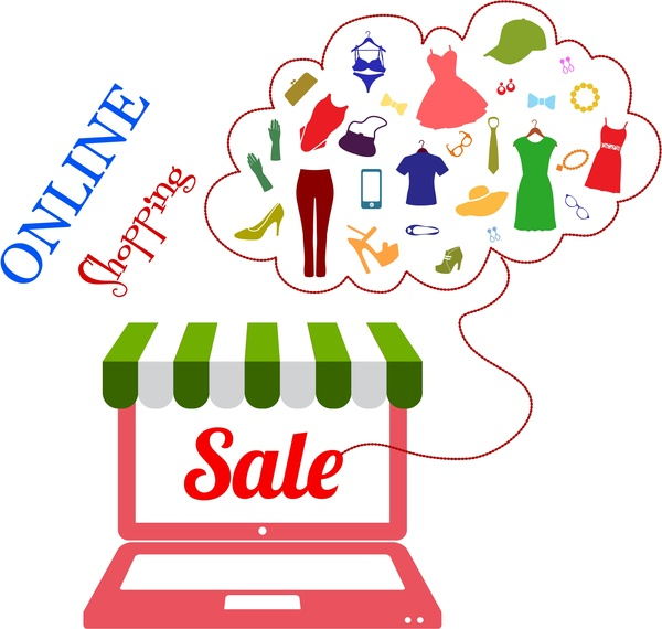 Online shopping concept with laptop and clothes icons Free.